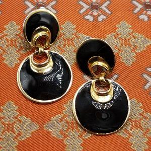 Vintage doorknock gold black enamel gypsy hoop
